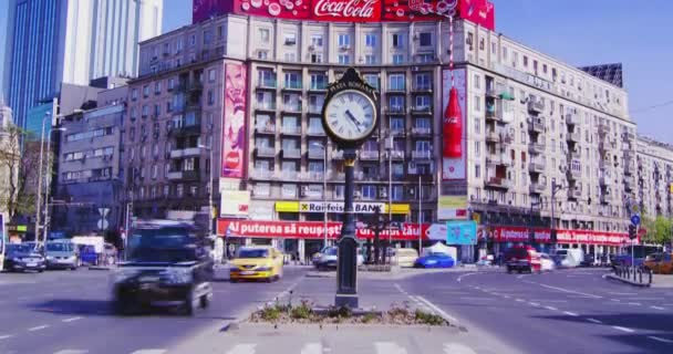 EDITORIAL Bucharest, Romania -  Circa April2016: The Roman Square on April 2016 in Bucharest, Romania. Piata Romana (The Roman Square) is a major traffic intersection in  Bucharest., 4k, time lapse, tilt