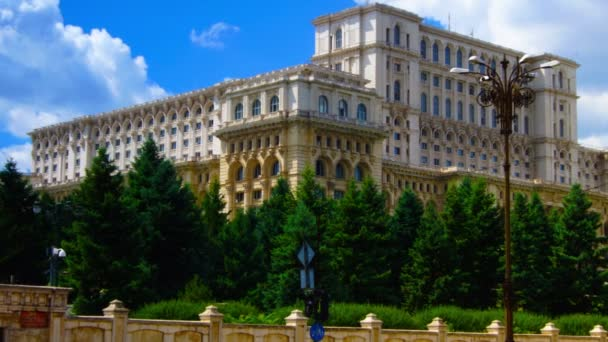 BUCHAREST, ROMANIA -  June 2015,Romanian Parliament or Peoples House in Bucharest-capital city of Romania. Time lapse shot. The same building houses the National Museum of Contemporary Art. Second largest building in the world.