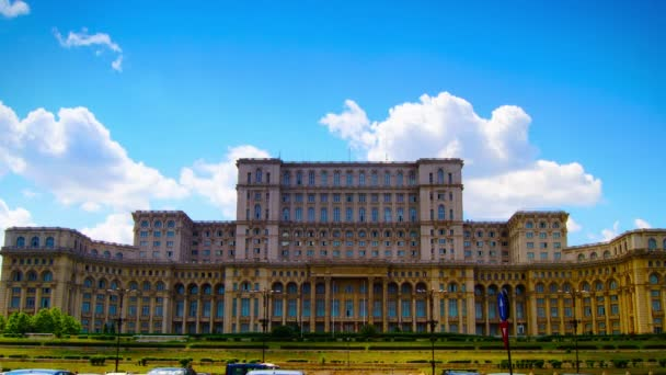 Bucharest, Romania, June 2015 - Romanian Parliament or Peoples House in Bucharest, Romania.Time lapse, Zoom Out