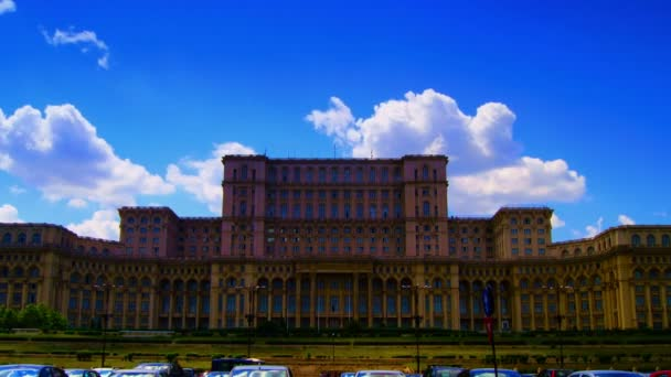 Romanian Parliament or Peoples House in Bucharest, Romania.Time lapse,Pan