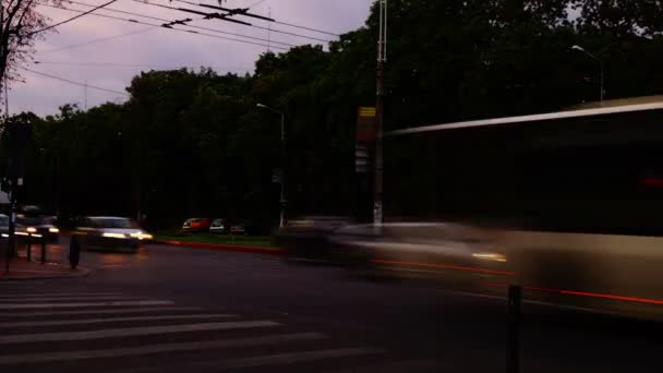 Traffic In Busy Intersection At Twilight,Bucharest, Romania,Time Lapse,Pan, 4k