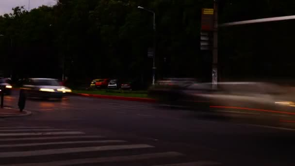 Traffic In Busy Intersection At Twilight,Bucharest, Romania,Time Lapse,Tilt, 4k
