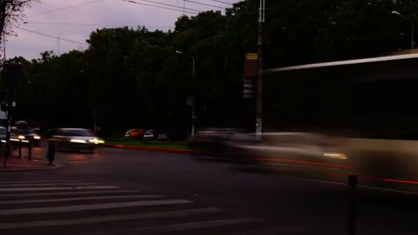 Traffic In Busy Intersection At Twilight,Bucharest, Romania,Time Lapse,Zoom In, 4k
