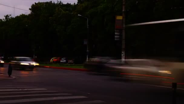 Traffic In Busy Intersection At Twilight,Bucharest, Romania,Time Lapse,Zoom Out, 4k