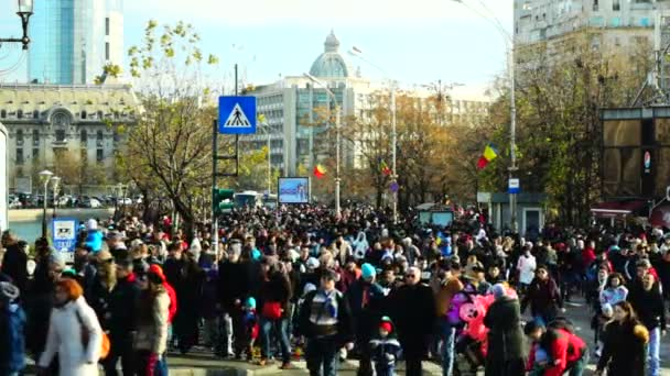BUCHAREST, Romania -  December 1 2015, Crowd of people after parade