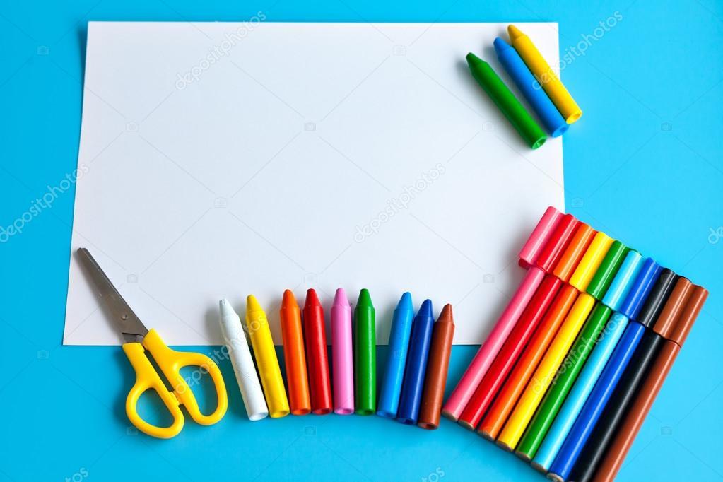Material Escolar Colorida Para Desenho Stock Photo