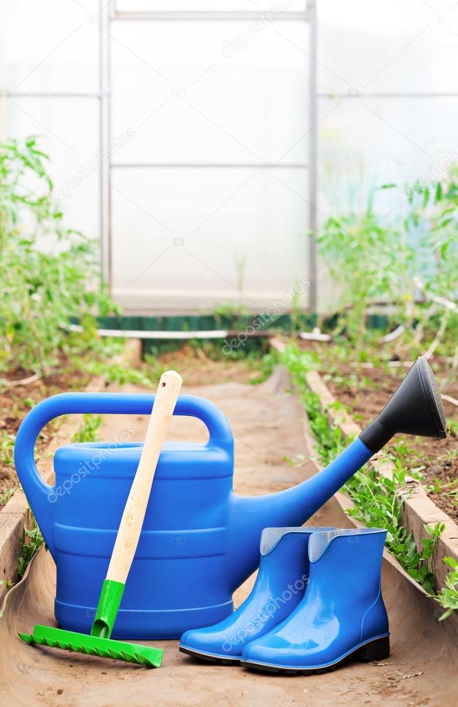 Colorful garden tools. watering can, rubber boots and rake.