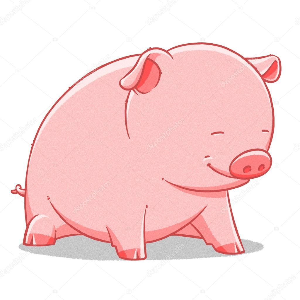funny cartoon cute fat pig illustration stock photo turaevgeniy rh depositphotos com big fat pig cartoon fat pig cartoon pictures