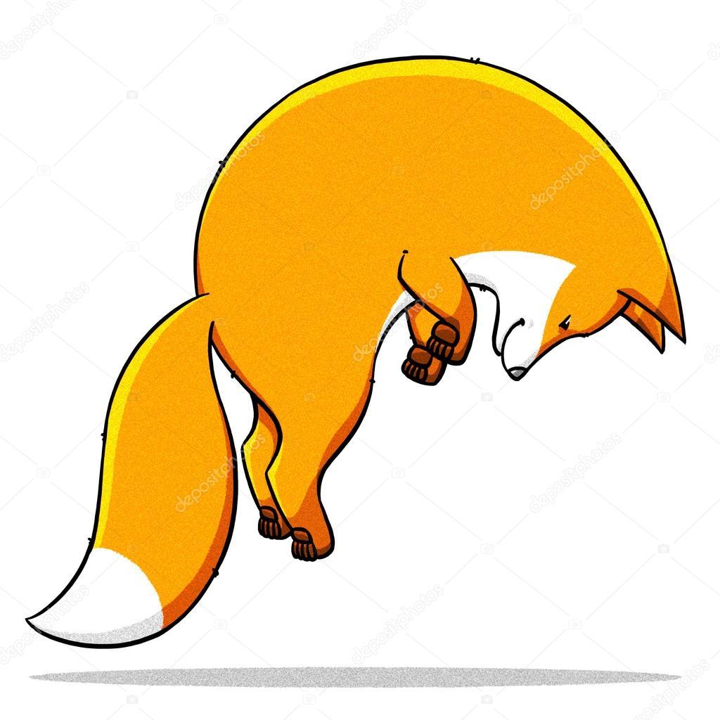 面白い漫画かわいい脂肪キツネ イラスト ストック写真 Turaevgeniy