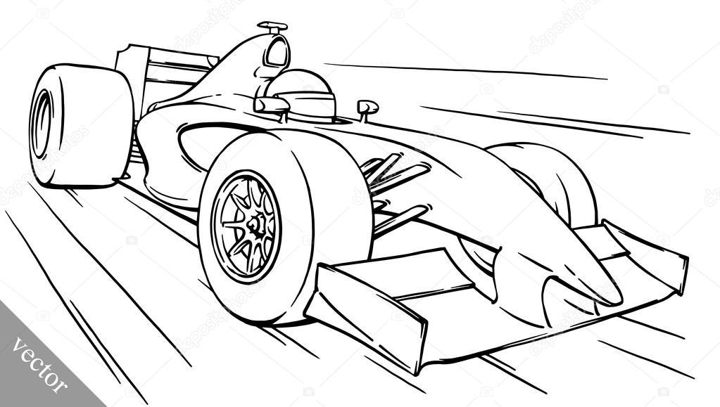 Childsın Komik Karikatür Formula Yarış Araba Vektör çizim Sanat
