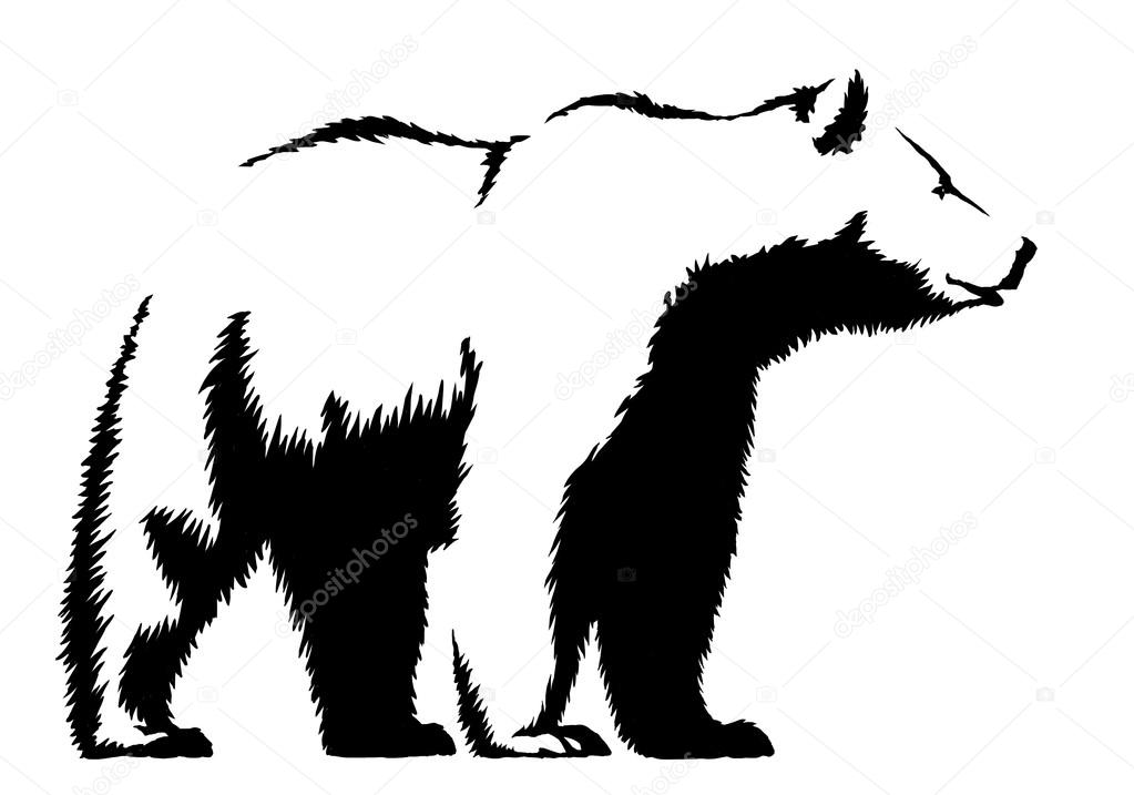 Ilustración de tinta blanco y negro dibujo oso — Foto de stock ...