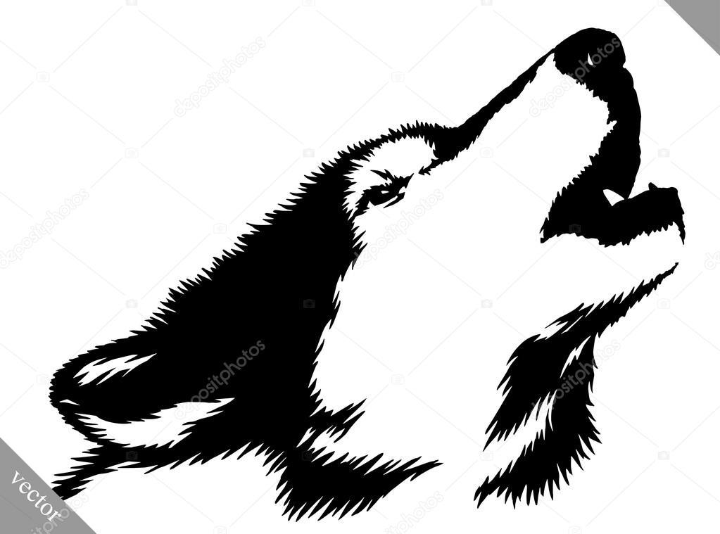 Pintura blanco y negro dibujar la ilustraci n de lobo archivo im genes vectoriales - Blanco y negro paint ...