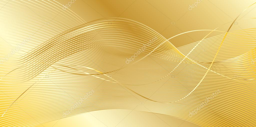 Abstract Gold Wavy Background Vector Illustration Gold