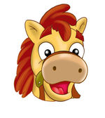 Horse, little Pony kids holiday mask for festive carnival. Digital illustration. Cartoon character.
