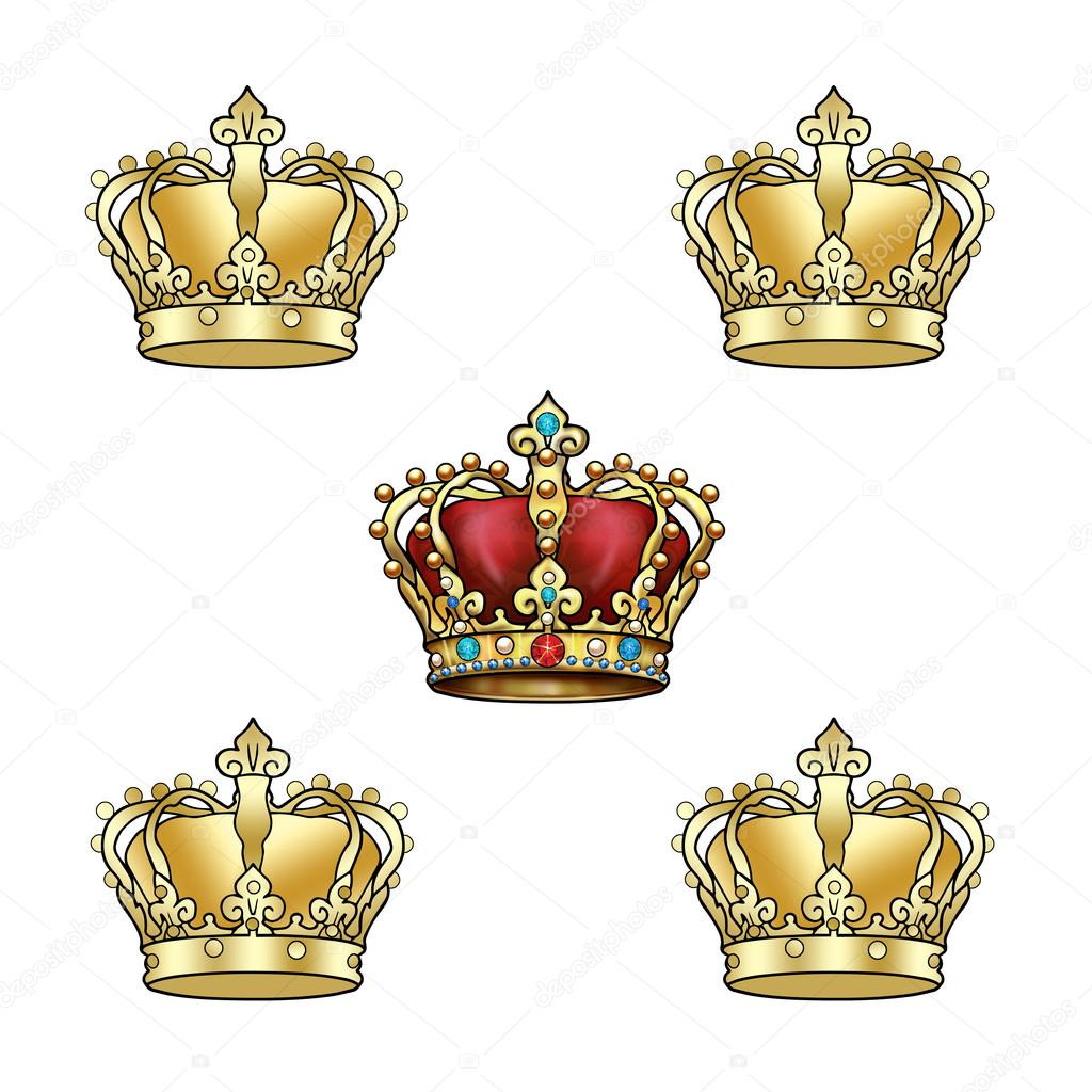 Gold Crown background. Golden royal crown pattern. Crown ...