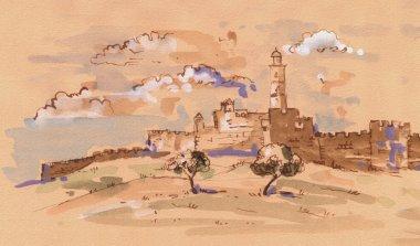 Jerusalem. David's tower - old city of Jerusalem view. Israel. Landscape. Digital Illustration