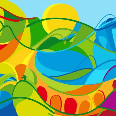 Rio 2016. Rio 2016 Olympic Games Brazil. Olympic Games 2016 abstract wallpaper. Abstract colorful summer pattern for Art, Print, web design. Green, yellow, red, Orange color