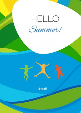 Rio 2016 abstract summer background. Rio 2016 Brazil wallpaper. Olympic games. Summer color of Olympic games 2016. Summer Sport. Hello Summer Abstract brochure background with jumping kids. Summer design. Vector template