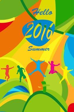 Rio 2016 Happy Jumping kids, Summer color and text hello Summer. Cover design. Olympic Games 2016. Sport Brazil. Rio 2016 Brazil concept. Rio 2016 Summer wallpaper. Rio 2016 cover.
