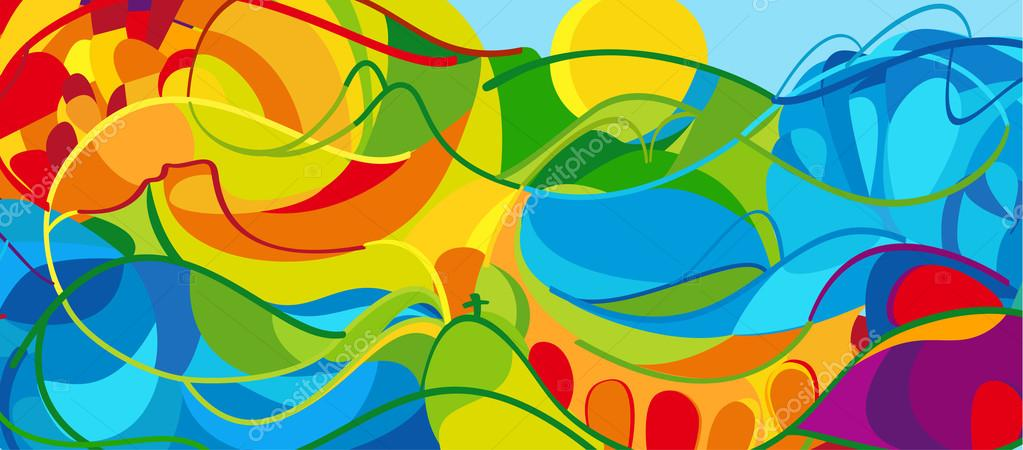 RIO 2016 Olympic games 2016 Summer wavy abstract background. Summer BRAZIL colorful pattern. Summer wavy illustration. Vector
