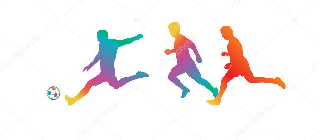 Silueta de jugador de fútbol soccer. Color del arco iris ...