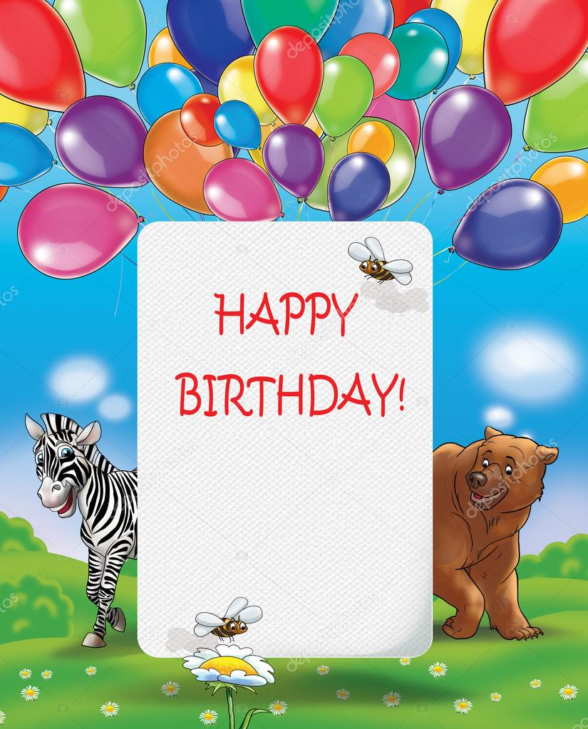 Happy Birthday Illustration Kids Event Invitation Summer Background Holiday Card Greeting Cute Animal