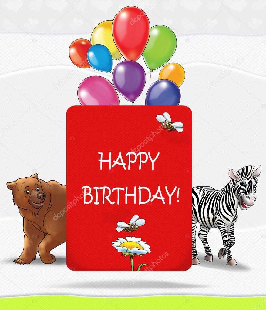 Happy Birthday Card Happy Birthday Illustration Kids Illustration