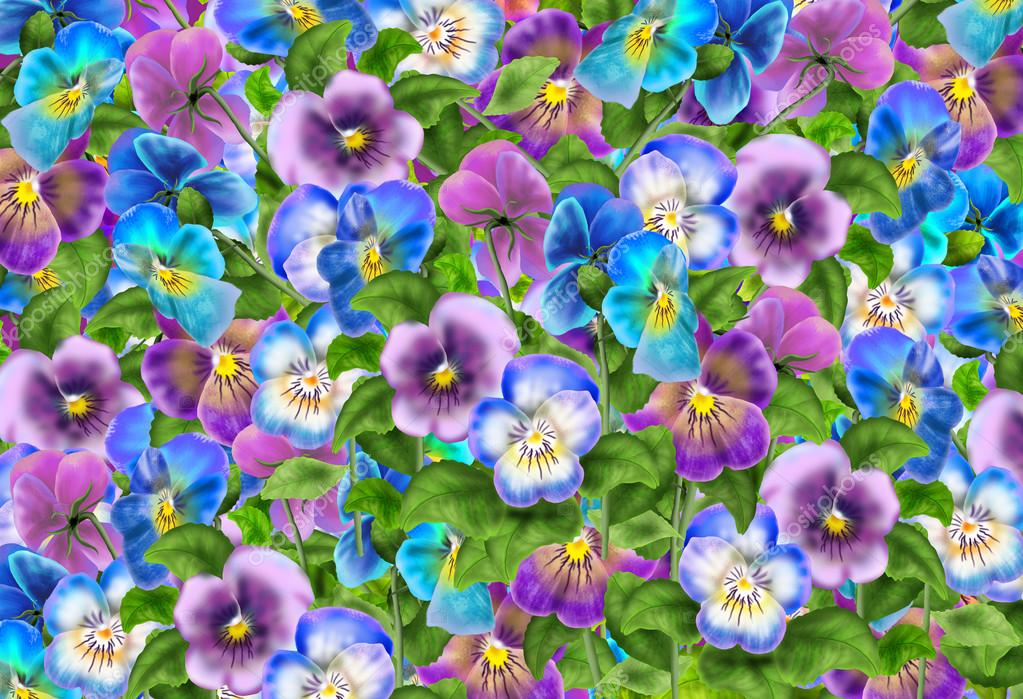 Pansy Flowers Pattern Realistic Painting Viola Tricolor Flowers