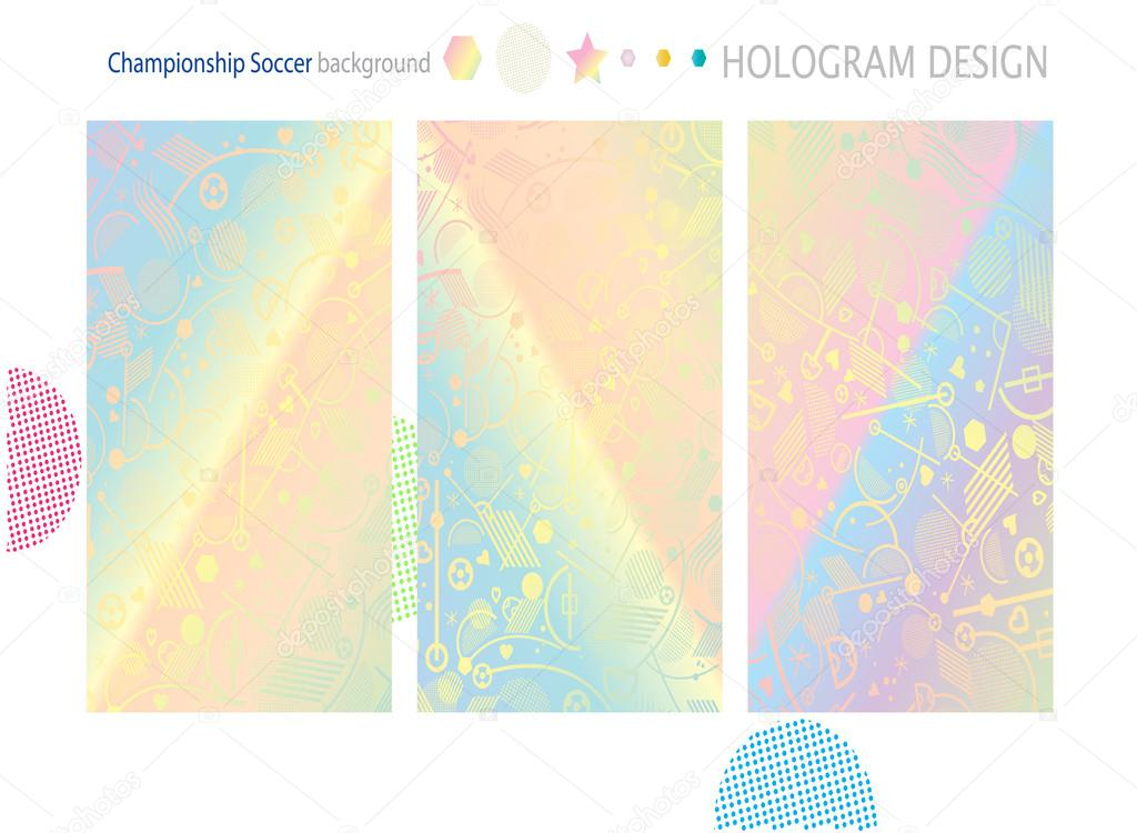 Sport Elements And Symbols On Holographic Background In Different