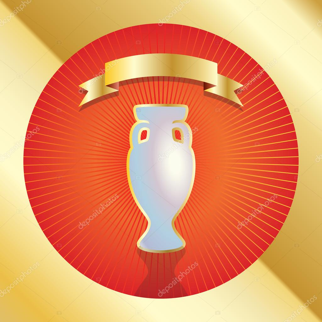 golden trophy cup and gold ribbon award icon winner banner vector
