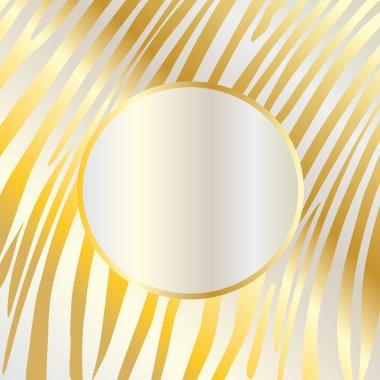 Zebra background. Gold card texture. Gold frame. Stripes vector illustration.