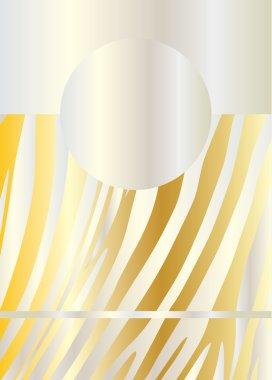 Zebra background. Gold card texture. Gold frame vector. Striped pattern.