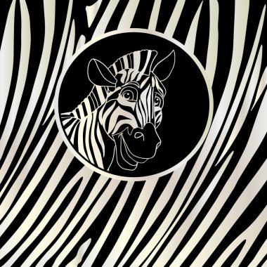 Zebra portrait frame background