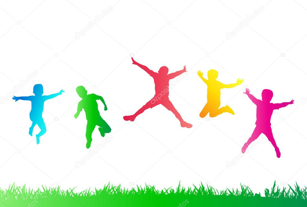Kids Sports Background: Kids Jumping. Silhouettes Of Kids. Children Party. Kids
