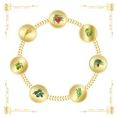 Grapes, date palm, pomegranate, ears of wheat, ears of rye, figs, olives, seven fruits in gold frame. Set. Seven species of the Holiday Shavuot, traditionally eaten on Jewish holiday Shavuot.