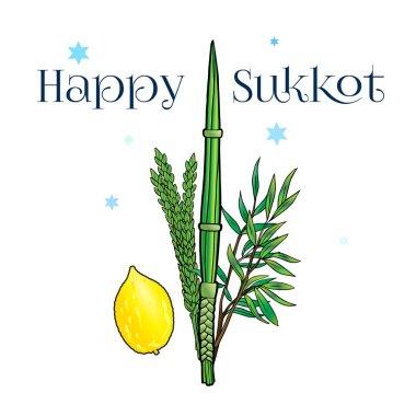Happy Sukkot background. Hebrew translate: Happy Sukkot Holiday. Jewish traditional four species for Jewish Holiday Sukkot. Vector illustration.