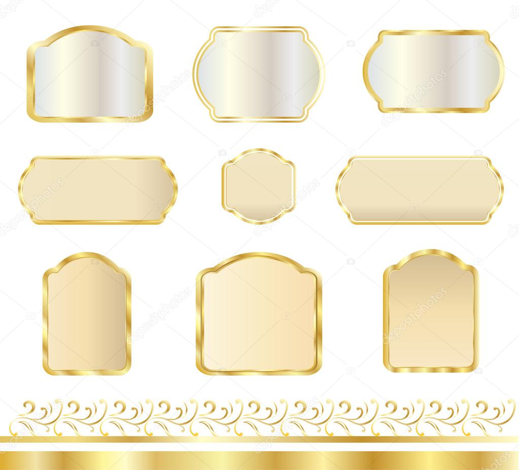 Vintage Gold Frames Set Set Of Frames And Borders Isolated On White