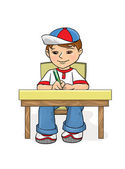 Boy sitting at a table and wrote. Student Examination. Exam. School, Preschool age.
