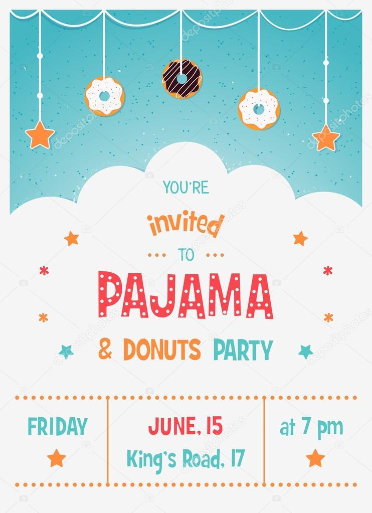 e63f75bc03 Plantilla de tarjeta de invitación fiesta pijama y los niños de Donuts —  Vector de stock