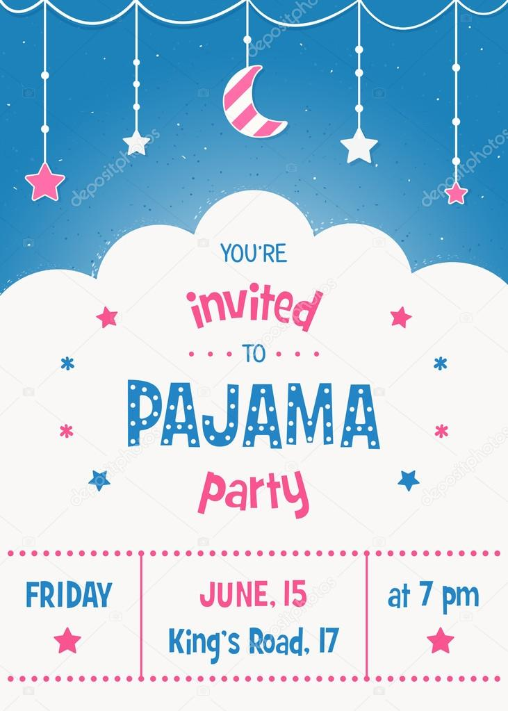 pajama sleepover kids party invitation card or poster template stock vector