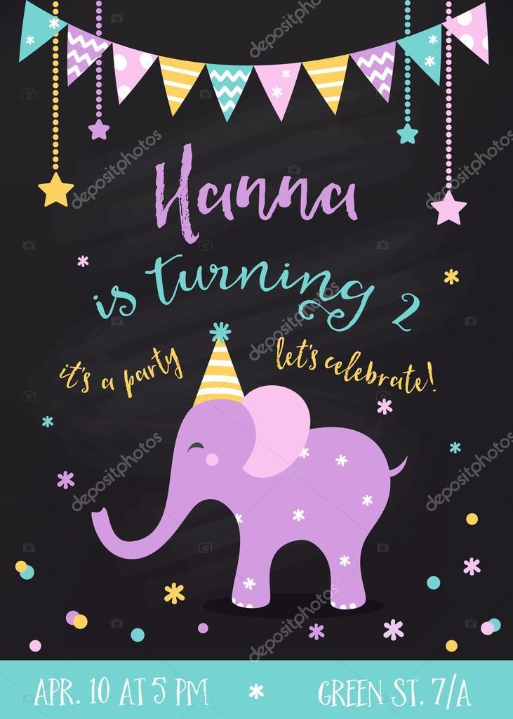 Kids Birthday Party Invitation Avec Guirlandes Et Bebe Elephant Sur