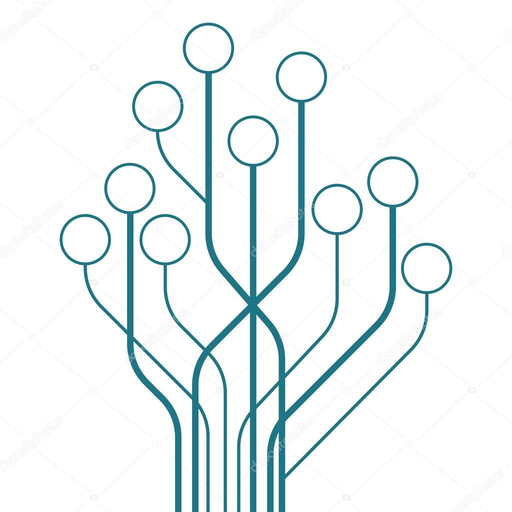 circuit tree board digital in shape of the tree on white background