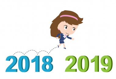 Happy business woman running from 2018 to 2019, new year success concept, vector stock vector