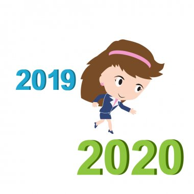 Happy business woman running from 2019 to 2020, new year success concept, vector stock vector