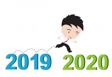 Businessman happy to running from 2019 to 2020, new year success concept, presented in vector form stock vector