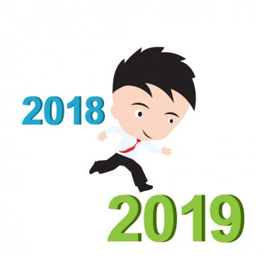 Businessman happy to running from 2018 to 2019, new year success concept, presented in vector form stock vector