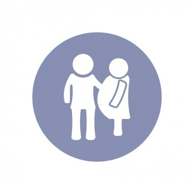 Man and Woman pregnant icon for love romantic family concept in vector