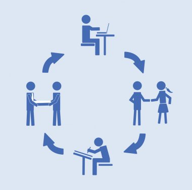 Abstract conceptual image of business Customer Relationship cycle, can use as background
