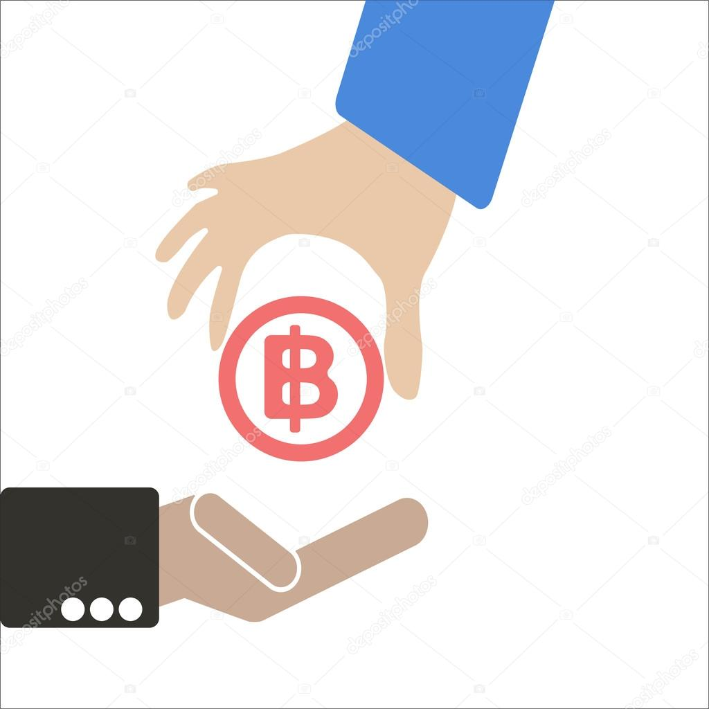 Human Hand Keep Currency Baht Symbol For Market And Stock Money