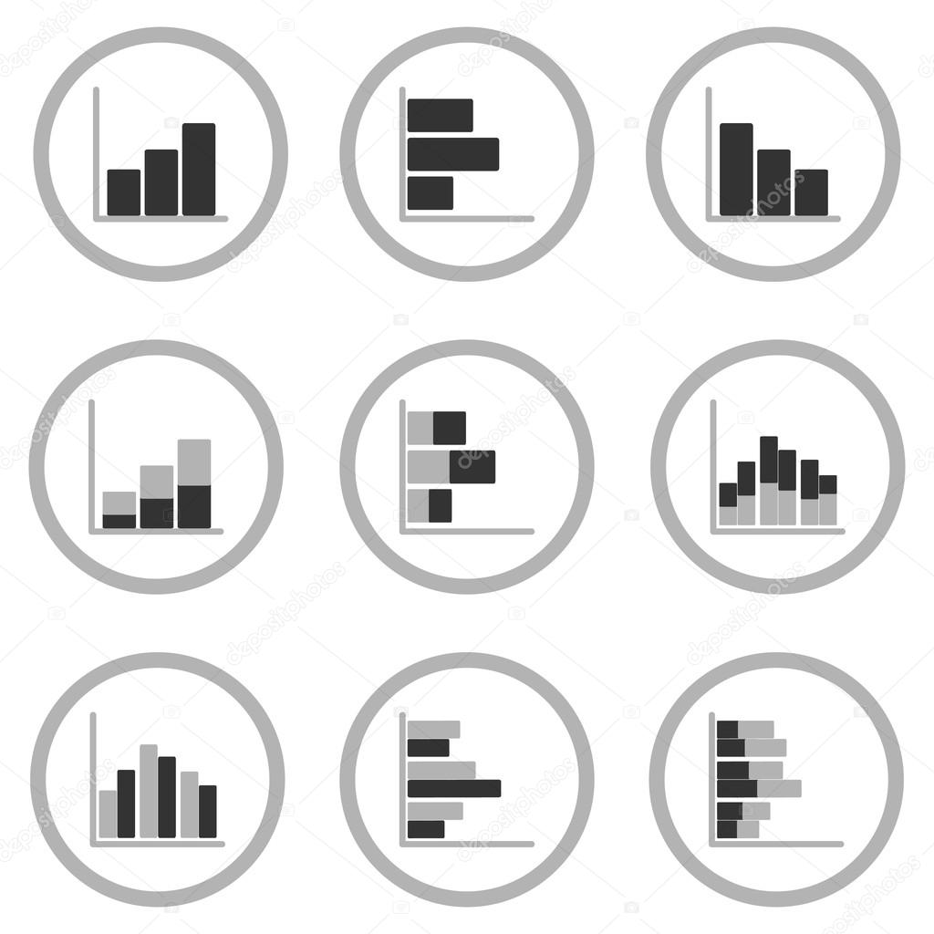 Business graph diagram chart icon set for design presentation in business graph diagram chart icon set for design presentation in vector line chart in mono ccuart Images
